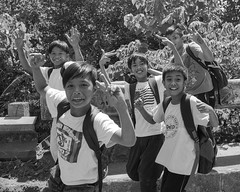 Schoolfriends (Beegee49) Tags: street boys schoolfriends happy laughing blackandwhite monochrome planet luminar sony a6000 conception philippines bw asia