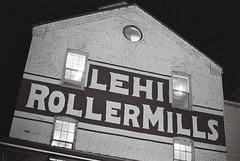 Lehi Roller Mills at Night (iroc409) Tags: minolta xk rokkor 50mm ilford hp5 film 35mm blackandwhite bw lehirollermills