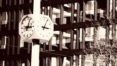 Lines (theflyingtoaster14) Tags: structure struktur architecture architektur clock uhr zeit time glass glas steel stahl concrete beton sepia art filter vienna wien olympus omd em1 mark ii dark dunkel ästethik