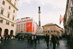 Roma (goodfella2459) Tags: nikonf4 afnikkor24mmf28dlens kodakektar100 35mm c41 film analog colour roma italy city streets pedestrians buildings
