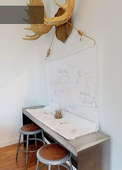 Hanging Paper Roll (Heath & the B.L.T. boys) Tags: antlers stool desk playtable rope industrial