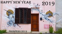 Happy New Year 2019 (collage42 -Pia-Vittoria//) Tags: 2019 newyear auguri porta door finesta window uccelli birds mural murale wishes