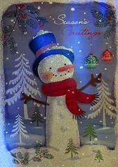Seasons Greetings! (Hayseed52) Tags: seasonalgreetings snowman sparkles card thankyou