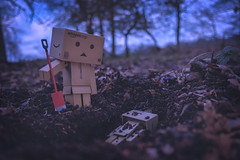 Heart of darkness. (Matt_Briston) Tags: danbo robot murder shallow grave robocide woods buried prison jail fuji x70 matt cooper