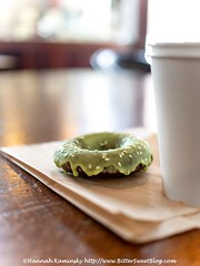 Flying Apron - Macha-Glazed Chocolate Doughnut (Bitter-Sweet-) Tags: vegan food sweet dessert pastry doughnut donut snack breakfast egglees dairyfree sugar baked chocolate matcha glutenfree healthy glaze icing frosting