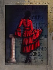 The Woman in Red (jimlaskowicz) Tags: jimlaskowicz artistic typography textures painterly impressionistic art column woman red