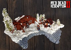 Red Dead Redemption 2 - Flaco Hernández camp (KevFett2011) Tags: kevfett2011 lego red dead redemption 2 moc creation snow landscape cabin flaco white gang gun gunslinger 2019 afol collab rockstar games tree tent fire camp hernández building bricks build hobby art artist photography