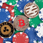 Poker chips with cryptocurrency coins thumbnail