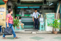 Security (Beegee49) Tags: street pawnshop security guard children sitting gun happy planet luminar sony a6000 bacolod city philippines asia happyplanet asiafavorites