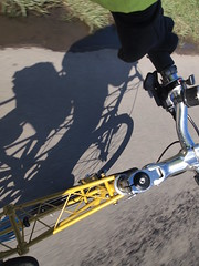 Bicycle and Shadow (cycle.nut66) Tags: bicycle cycle bike cyclist ride riding shadow moulton tsr tsr27 27 space frame road moving movement yellow light sunlight clear bright sunny day cycling olympus epl1 evolt micro four thirds mzuiko