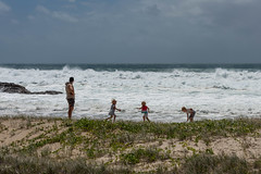 Cyclone? What Cyclone? (armct) Tags: children play game invention surf surfbeach creativity currumbin cyclone rocks conservation playful watchful alert parent father careful caring recreation landscape seascape dune shore