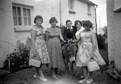 IMG_0025 Clovelly North Devon 1960 Dorothy Brown RIP Jean Spafford RIP Janet Lister Sandra and MGS on the Donkey (photographer695) Tags: clovelly north devon 1960 dorothy brown rip jean spafford janet lister sandra mgs donkey