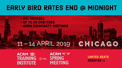 Early Bird rates end @ Midnight for ACRM Spring Meeting (ACRM-Rehabilitation) Tags: acrmspringmeeting acrmtraininginstitute chicago hiltonchicago instructionalcourse medicaleducation medicalconference medicalassociation continuingeducationcredits cmeceu science scientificpaperposters scientificresearch rehabilitationresearch physicalmedicine archivesofphysicalmedicinerehabilitation