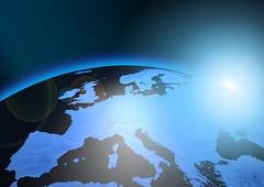 Erde mit Blauschimmer und Sonne-reflektion (Christoph Scholz) Tags: klimawandel erde internet connection date global online europa earth communication kommunikation atombombe