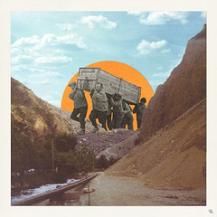 ctc (woodcum) Tags: people carrying coffin sunrise surreal mountains hills retro vintage sky clouds collage digital grain color