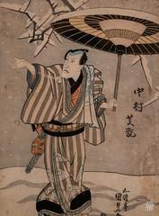 L'acteur Nakumara Shikan II dans la Visite de fleurs de prunier (Yoko Umeni). (detail (sylvain.collet) Tags: france peinture asiatique art japon homme asie hiver parapluie lesnabis kimono acteur neige