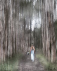 Chloe . . . (YvonneRaulston) Tags: emotive moody impressionist park woman girl person lady trees woods