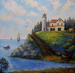 Lighthouse (helenmpicture) Tags: oil canvas painting fineart buildings ocean sea water ship boat lighthouse landscape seagulls coast beach stairs clouds bay