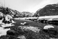 Riverbed (.enKay) Tags: travelphotography travel tokina1116 canon canon60d mountains mountain telluride colorado usa unitedstates landscape landscapephotography landscapes bw black blackandwhite blackandwhitephotography blackwhite contrast water rocks river snow winter holiday vacatoin skiing trees sky