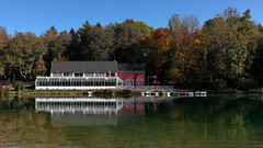 seelounge (bkellerstrass) Tags: see lake augsburg kuhsee reflection restaurant water autumn herbst bayern germany bavaria ducks enten