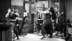 Event Horizon March 2019 025 (byronv2) Tags: music musician woman women makeup stage band krow krowandtheelectrictemple goth gothic punk electro blackandwhite blackwhite bw monochrome dance shorelineofinfinity eventhorizon edinburgh edimbourg scotland frankensteins georgeivbridge