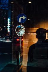 Lure (ewitsoe) Tags: cityscape street warszawa winter erikwitsoe erikwitsoecom poland urban warsaw night evening reflection city cathedral nikond80 35mm myshadow reflect sign post
