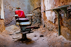 Haircut and a Shave? (Dalliance with Light (Andy Farmer)) Tags: abandoned decay easternstatepenitentiary old weathered barberschair dilapidated philly prison philadelphia red pennsylvania unitedstatesofamerica us