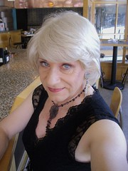 """This Is My """"Come Hither"""" Look (Laurette Victoria) Tags: louises milwaukee bar blonde laurette woman necklace"""