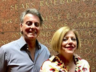 International art collector James  Figetakis with Leslie Jones at the jazz roots concert