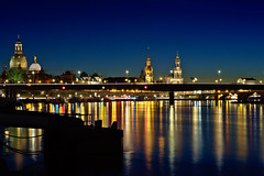 Dresden (marvin.w.) Tags: dresden germany deutschland bluehour altstadt elbe reflections
