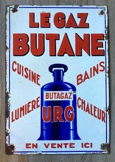 plaque émaillée publicitaire  butagaz le gaz butane