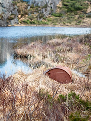 """Disappearance in progress"" (Terje Helberg Photography) Tags: abandoned barrel color colour grass lake landscape nature neglected old outdoor outside rust spring water"