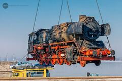 Special delivery from Vienna: DR 50 3670 (BackOnTrack Studios) Tags: dampflok 50 3670 dampflokomotive 503670 steam locomotive bulgaria ruse unloading floating crane harbour dock ship bulgarian railways