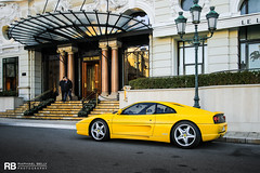 Ferrari 355 Berlinetta (Raphaël Belly Photography) Tags: rb raphaël monaco principality principauté mc montecarlo monte 98000 carlo hotel de paris french riviera south france luxury supercar supercars spotting car cars voiture automobile raphael belly canon eos photographie photography casino ferrari 355 berlinetta f355 yellow jaune giallo gialla