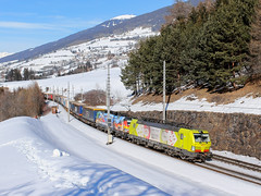 193.550-1 + 193.640-0, DGS 40561, 9.2.2019 (davidnovaktrains) Tags: snow snowfield mountains brenner brennerbahn txl winter time train railway railroad vectron italy austria sky hills landscape österreich rakousko průsmyk brennerpass passo del brennero freight zug cargo rail tree alpen alpes