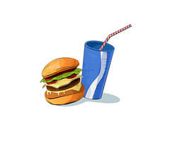 fast food vector illustration (elena.s.bauer) Tags: american background beverage burger burgers cheeseburger cola coladrink cold delicious design drink eat element fast food graphic hamburger icon illustration isolated junkfood lunch meal meat nutrition sandwich sign snack soda symbol tasty unhealthy vector
