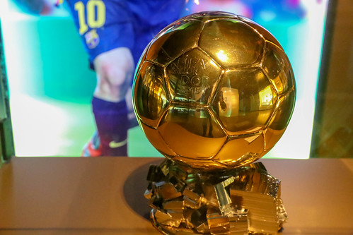 "Golden ""Winner of the Ballon d'Or in 2015"" Trophy for FC Barcelona soccer player Lionel Messi at Camp Nou Museum in Spains capital"
