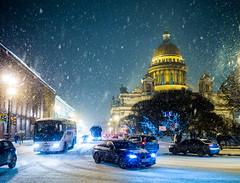 Winter in St. Petersburg (kishjar?) Tags: saint isaac cathedral winter night russia snow cars traffic headlights