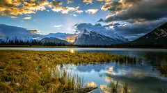 Sunrise at Mount Rundle (todaniell) Tags: canada banff mountrundle sunrise refection clouds todaniell odaniell canon canon6d mountains snow landscape canadianrockies rockies