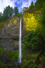 The Colors of Latourell (RobertCross1 (off and on)) Tags: a7rii alpha cascaderange cascades columbiarivergorge emount ilce7rm2 latourellfalls multnomah nationalscenicarea or oregon pacificnorthwest sony bluesky cascade clouds forest fullframe landscape mirrorless trees water waterfall fe1635mmf4zaoss