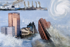Climate Change - Hurricanes (Terry Pellmar) Tags: texture digitalart digitalpainting climatechange hurricanes flood carbon emissions pollution city buildings factories collage globalwarming environment