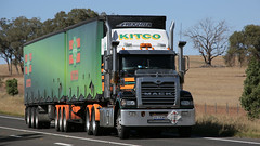 On the NEWELL (1/3) (Jungle Jack Movements (ferroequinologist)) Tags: koo wee rup vic mack western star kenworth k200 kitco scotts mount gambier newell highway nsw new south wales australia parkes peak hill hp horsepower big rig haul haulage freight cabover trucker drive transport carry delivery bulk lorry hgv wagon road nose semi trailer deliver cargo interstate articulated vehicle load freighter ship motor engine power teamster truck tractor prime mover diesel injected driver cab cabin loud beast wheel exhaust double b grunt