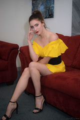 Yellow On Red (Fly Sandman) Tags: model modelshoot taylorjansen yellow red shortdress legs highheels blueeyes