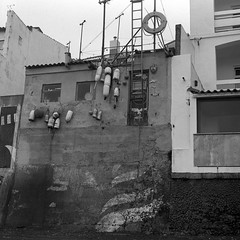 House at the shore (salparadise666) Tags: nils volkmer medium format analogue film camera square 6x6 azores portugal fomapan landscape bw black white monochrome rollei sl66 planar 80mm 100 caffenol cl 36min