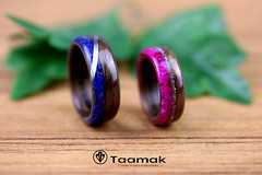 Alliances en Noyer, Lapis lazuli, Agathe slice et fil d'argent sterling (Taamak) (Taamak jewerlry) Tags: amour nature natural artisanat mariage abre bijou beauty bague bijouterie engament pink fiancailles photography photographer wood mode wedding