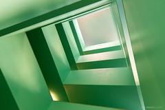 The same in green (bjoernahrensfotografie) Tags: munich münchen abstract abstrakt rectangular rechteckig stairs staircase treppe treppenhaus grün green lookup minimal architecture architektur