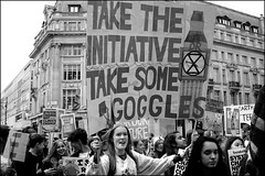 Climate change demo - DSCF9722a (normko) Tags: london climate change demo demonstration protest teens youth action oxford street circus road placard sign system initiative googles sealevel rise