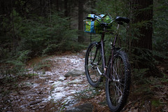 Klunkin' (koperajoe) Tags: hemlocks trail snow bicycle bike velo newengland forest