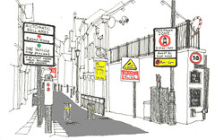 Stockport (jamesdyson) Tags: cheshire stockport hillgate littleunderbank conservationarea highways automaticbollards bollards signs trafficcontrol posts boxes cctv pedestrianzone speedlimit laserclinic sketch artpen sharpie pastel marker photoshop dystopia