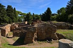 Rome / Ostia Antica /  Ruins (Pantchoa) Tags: rome italis lazio europe ruinesromaines ostiaantica murs briques pierres cyprès pins arbres cielbleu maisons antiquités antique